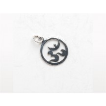 Charm / Om Circle  / sterling silver