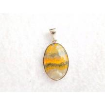 Pendant / Bumble bee jasper / sterling silver