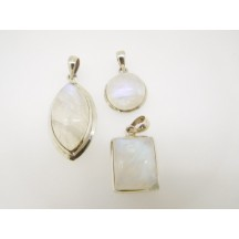 Pendant / Rainbow Moonstone ass shapes & sizes / Sterling silver