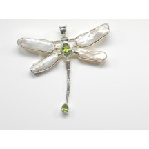 Dragonfly Pin/Pendant / Sterling Silver / Ass. Stones
