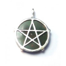 Pentagram Disk  Pendant / Sterling Silver